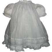 Sweet Batiste Antique Doll Dress w Chemise, Beautiful Lace