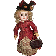 Lovely Antique Maroon Leather Fashion Doll Purse