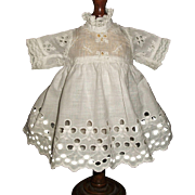 Lovely Early Small White Eyelet Doll Dress with Petticoat