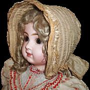 Fabulous Silk Antique Doll Sunbonnet, Cloth, Greiner, Papier Mache