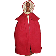 Nice Antique Red Wool Shaker Doll Cape