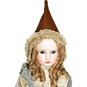 Cute Antique Brown Wool Pointed Doll Hat