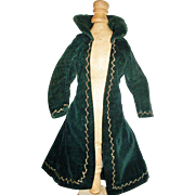 Fabulous Antique Dark Green Velvet French Fashion Doll Coat