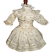Pretty Blue Floral Small Doll Dress, French / German