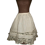 Pretty Light Ecru Antique Petticoat. Lovely lace