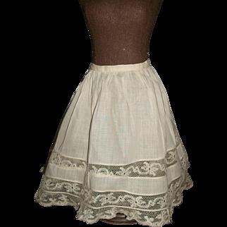 Pretty Light Ecru Antique Petticoat. Lovely lace