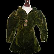 Fabulous Antique French Fashion Velvet Doll Coat