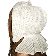 lovely Antique White Cotton Prairie Bonnet, Cloth, Papier Mache Doll