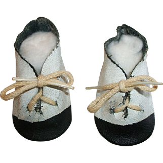 Cute Pair of Vintage Black and White Oil Cloth Doll Shoes