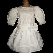 Pretty Bright White Cotton Doll Dress, Small Kestner, Handwerck