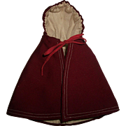 Nice Early Small Doll Hooded Wool Cape