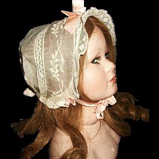 Pretty Antique Organdy Doll Bonnet, Pink Ribbons