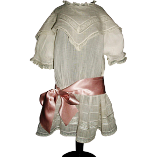Pretty Antique Batiste Drop Waist Doll Dress