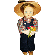 "11"" Vintage Lenci Boy with Flowers, Needs TLC"
