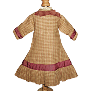 Lovely Early Brown Plaid Wool Doll Dress, Fashion, China, Papier Mache