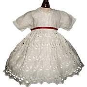 Pretty Small Antique Eyelet Lace Doll Dress w Petticoat