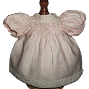 Sweet Antique Small Pink Doll Dress w Slip