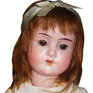 Small Antique Brown Mohair Doll Wig w Original Ribbon