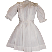 Nice Vintage Pleated White Cotton Doll Dress, Kestner, Handwerck