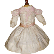 Sweet Antique Small Doll Dress. Pink Silk Ribbons and Rosebuds