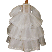 Beautiful Vintage White Organdy/ Embroidered Fashion Gown