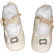 Nice Pair of Antique White Leather Doll Shoes