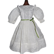 Pretty Early White Organdy Doll Dress, Kestner, Handwerck