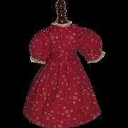 Wonderful Red Cotton Antique Doll Dress, China
