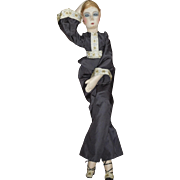 "Lovely 29"" French Boudoir Doll, Tagged Fabrication Franciase"