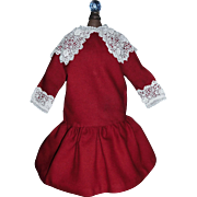 Lovely Red Wool Drop Waist Doll Dress, Fabulous Lace