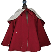 Antique Red Wool Doll Cape w Damage
