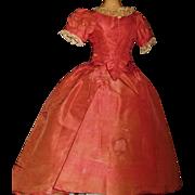 Antique French Fashion Silk Doll Dress, Damaged