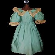 Antique Wool Challis Doll Dress, Damaged