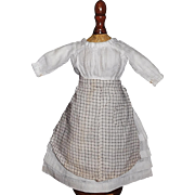 Lovely Small Antique  White Cotton Doll Dress w Apron, China