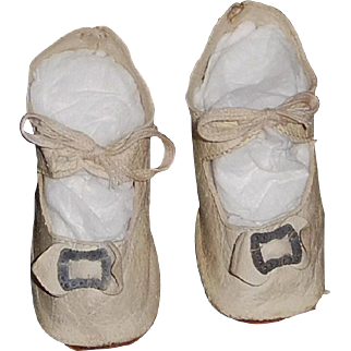 Pair of Antique White Leather Doll Shoes