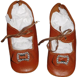Great Pair of Large Antique Brown Leather Doll Shoes