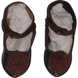 Fabulous Pair of French Doll Shoes, Marked Paris Bebe Depose, Size 8