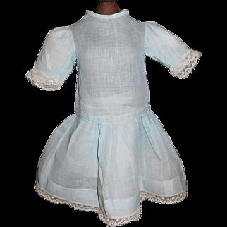 Pretty Blue Organdy Early Vintage Doll Dress