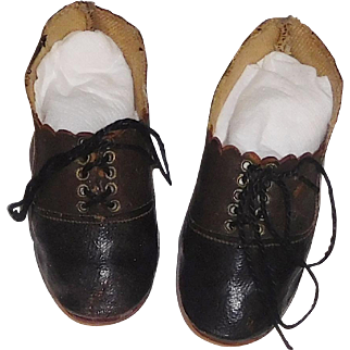 Wonderful Pair of Large German Antique Doll Shoes. Boy, Character