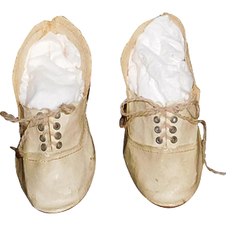 Nice Pair of Large Boy Doll Shoes, Marked 12