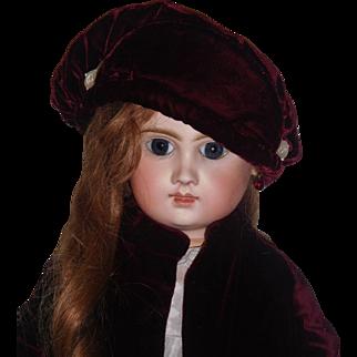 Lovely Dark Maroon Velvet Coat and Hat