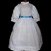 Pretty Blue Cotton Vintage Doll Dress