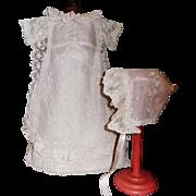 Pretty White Lace Doll Dress w Bonnet