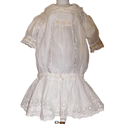 Pretty Antique White Drop Waist Dress for a Large Doll,