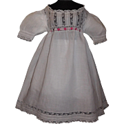 Pretty Antique Doll Dress, Lace / Feather Stitching