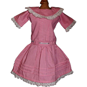 Cute Pink Cotton Doll Dress, Tucks and Lace