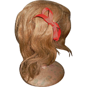 Large Antique Dark Blond Human Hair Doll Wig