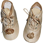 Nice Pair of Antique White Kid Leather Baby / Doll Shoes