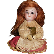 Tiny Bisque Head Doll for Clothes, Parts, Restore, Display