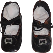 Nice Pair of Antique Black Leather Doll Shoes